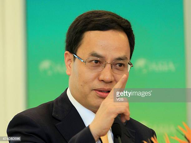 Li Hejun Chairman of Hanergy Holding Group attends 2013 Boao Forum for Asia on April 7 2013 in Qionghai China