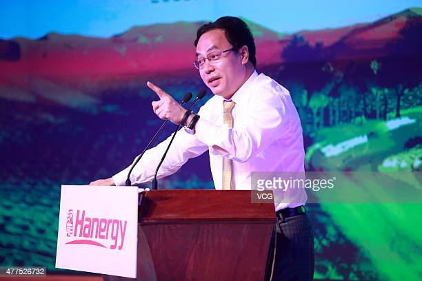 Li Hejun Chairman of Hanergy Holding Group speaks during a news conference at Hanergy Headquarters on June 17 2015 in Beijing China Li Hejun...