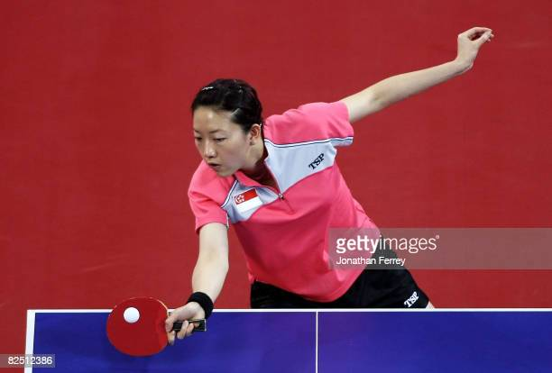 Li Jia Wei of Singapore plays a shot during the Women's Singles Table Tennis BronzeMedal Match against Guo Yue of China held at the Peking University...