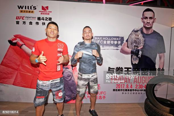 Li Jingliang and Max Holloway lead a UFC MMA Seminar on August 4 2017 in Shanghai China