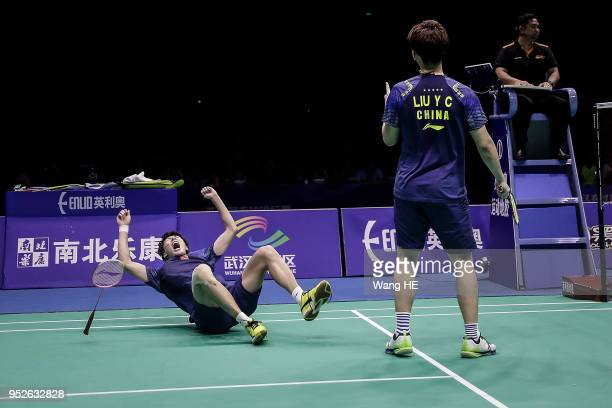 Li Junhui and Liu Yuchen of China celebrate wins the game during men's doubles final match against Taseshi Kamura and Keigo Sonda of Japan at the...