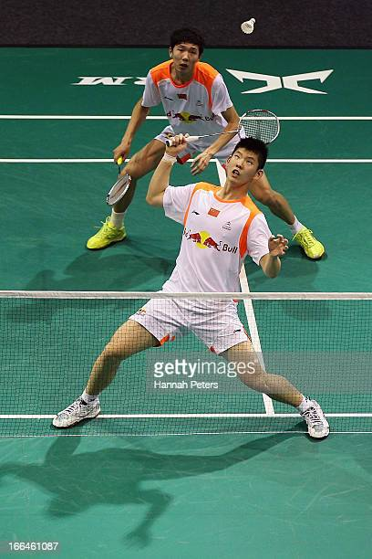 Li Junhui and Liu Yuchen of China play a shot in the Men's doubles semi final match against Angriawan Berry and Rendy Sugiarto Yohanes of Indonesia...