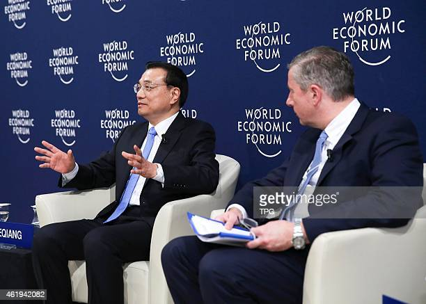 Li Keqiang at Davos World Economic Forum on 22th January 2015 in Davos Switzerland