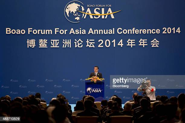 Li Keqiang China's premier delivers a speech at the Boao Forum for Asia in Boao Hainan China on Thursday April 10 2014 Li said China plans to connect...