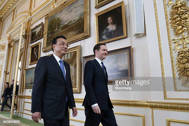 Li Keqiang China's premier left and George Osborne UK chancellor of the exchequer arrive for the UK China Financial Forum at Lancaster House in...