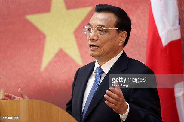 Li Keqiang China's premier speaks during the UK China Financial Forum at Lancaster House in London UK on Wednesday June 18 2014 China Construction...