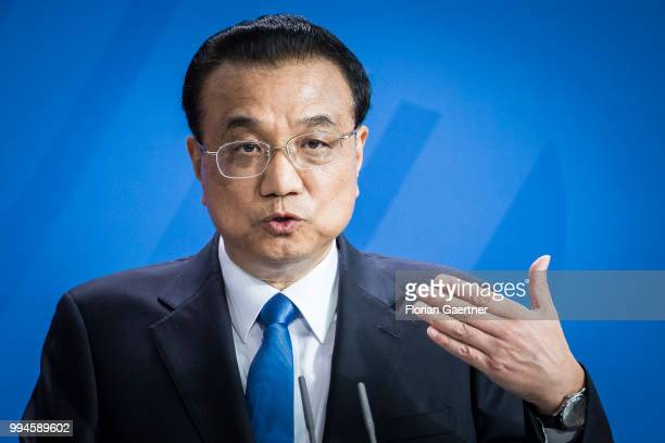 Li Keqiang Prime Minister of China is pictured during a press conference with German Chancellor Angela Merkel on July 09 2018 in Berlin Germany The...
