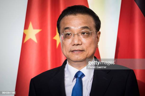 Li Keqiang Prime Minister of China is pictured during the meeting with German Chancellor Angela Merkel on July 09 2018 in Berlin Germany The two...