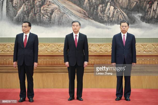 Li Keqiang Wang Yang and Zhao Leji attends the greets the media at the Great Hall of the People on October 25 2017 in Beijing China China's ruling...