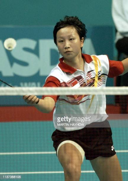 Li Li of Singapore winning her match against Rebecca Gordon of New Zealand in a Womens singles match in the Badminton Team semifinal competition...