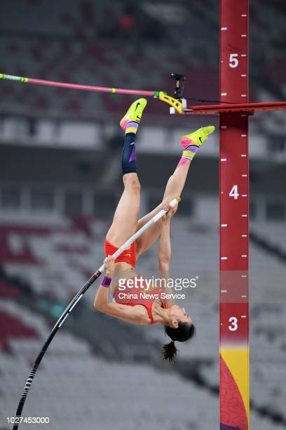 Li Ling of China competes in Women's Pole Vault Final on day ten of the 2018 Asian Games on August 28 2018 in Jakarta Indonesia