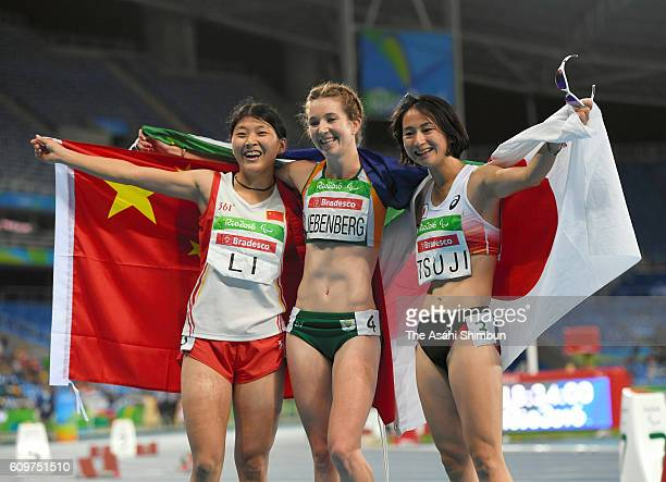 Li Lu of Chiba Anrune Liebenberg of South Africa and Sae Tsuji of Japan celebrate winning gold silver and bronze medals respectively in the Women's...