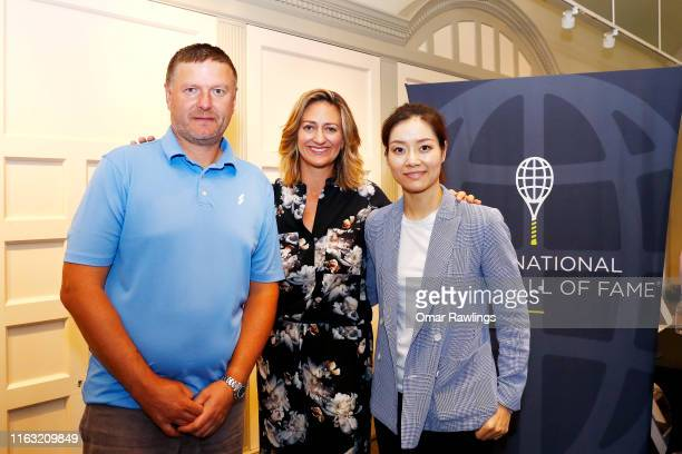 Li Na Mary Pierce and Yevgeny Kafelnikov pose for a picture after the press conference announcing the class of 2019 at the Tennis Hall of Fame on...