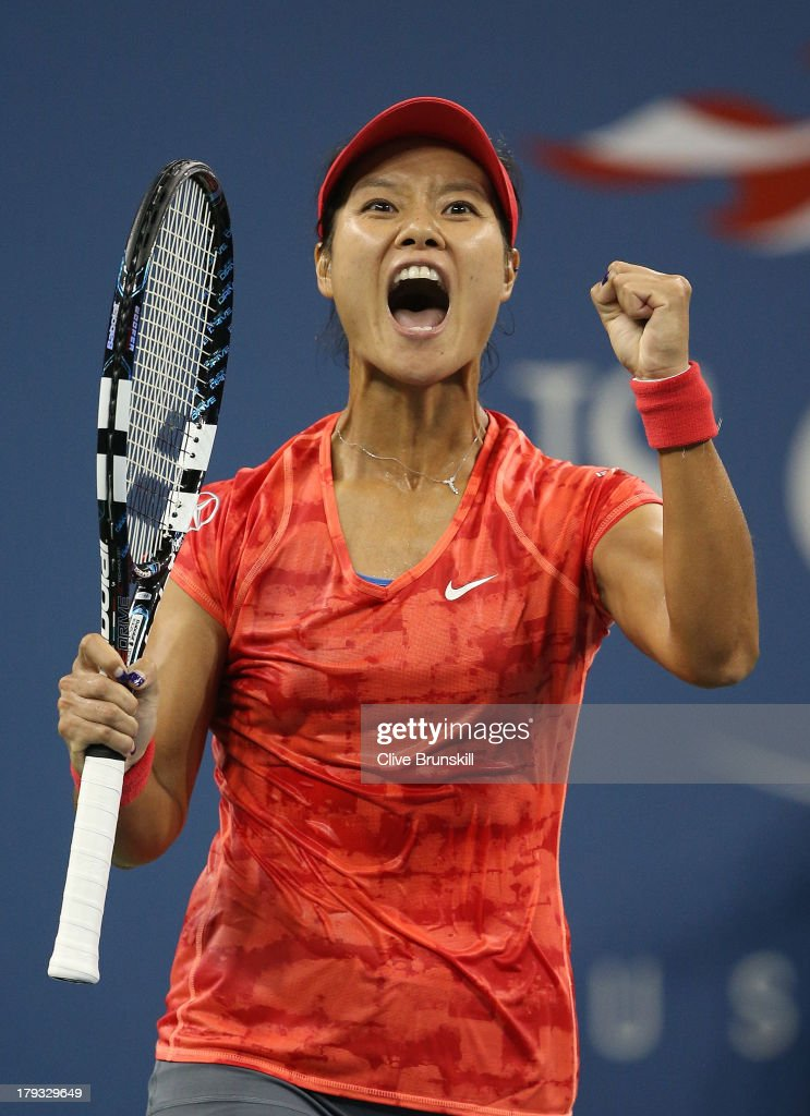 Li Na of China celebrates match point against Jelena Jankovic of Serbia during the third round match on Day Seven of the 2013 US Open at USTA Billie Jean King National Tennis Center on September 1, 2013 in the Flushing neighborhood of the Queens borough of New York City.