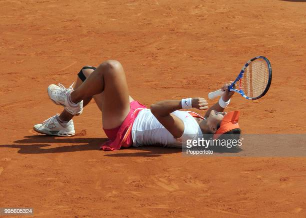 Li Na of China celebrates winning the Women's Singles Final in straight sets against Francesca Schiavone of Italy during day 14 of the French Open at...