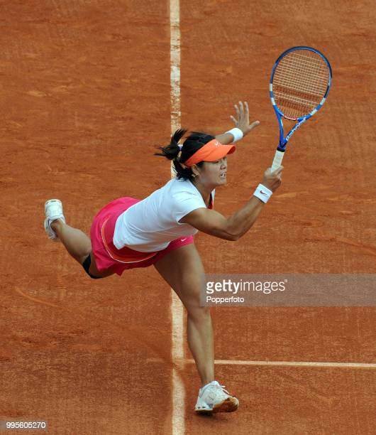 Li Na of China enroute to winning the Women's Singles Final in straight sets against Francesca Schiavone of Italy during day 14 of the French Open at...