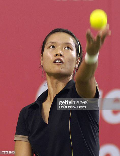 Li Na of China is seen in action against Victoria Azarenka of Belarus during the final of the match of the Australian Women's Hardcourt tennis...