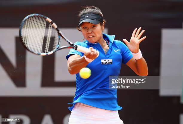 Li Na of China plays a forehand in her match against Iveta Benesova of Czech Republic during day five of the Internazionali BNL d'Italia 2012 Tennis...