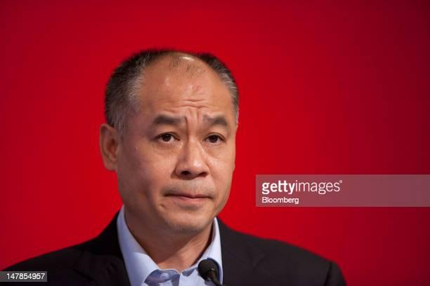 Li Ning founder and chairman of Li Ning Co attends a news conference in Hong Kong China on Thursday July 5 2012 Li Ning Co surged in Hong Kong...