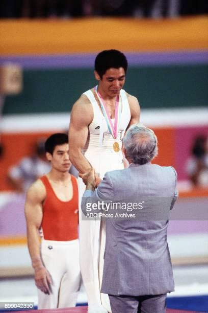 Li Ning Koji Gushiken Men's Gymnastics medal ceremony Pauley Pavilion at the 1984 Summer Olympics July 31 1984
