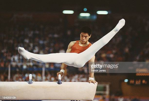 Li Ning of China performs during the Men's Pommelled Horse event on 4th August 1984 during the XXIII Olympic Summer Games at the Edwin W Pauley...