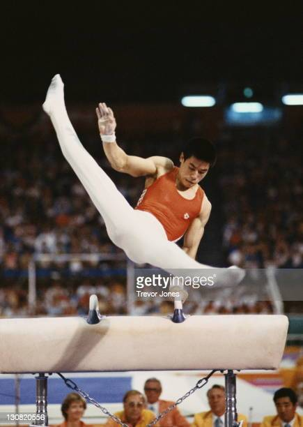 Li Ning of China performs in the Men's Gymnastics Pommelled Horse event on 4th August 1984 during the XXIII Olympic Summer Games at the Edwin W...