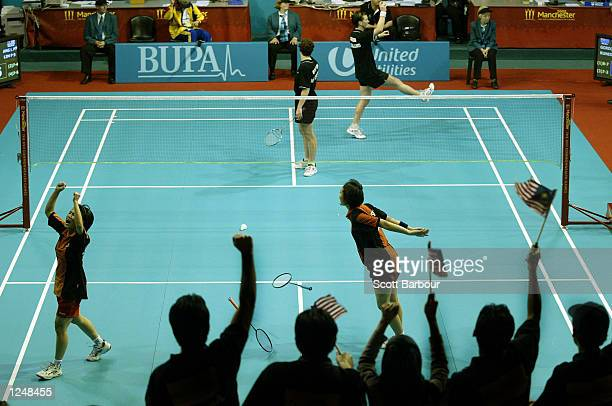 Li Peng Ang and Pek Siah Lim of Malaysia celebrate after defeating Nicole Gordon and Sara Runesten Petersen of New Zealand in the Women's Doubles...