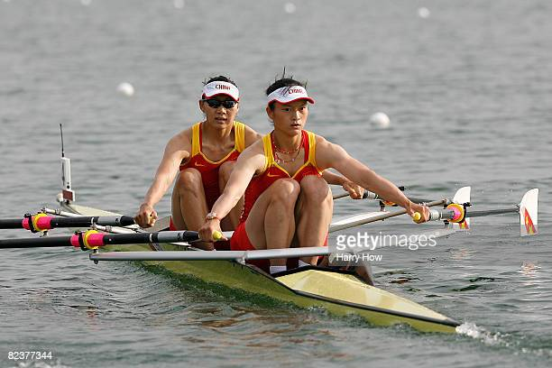 Li Qin and Tian Liang of China compete in the Women's Double Sculls Final at the Shunyi Olympic Rowing-Canoeing Park on Day 8 of the Beijing 2008...
