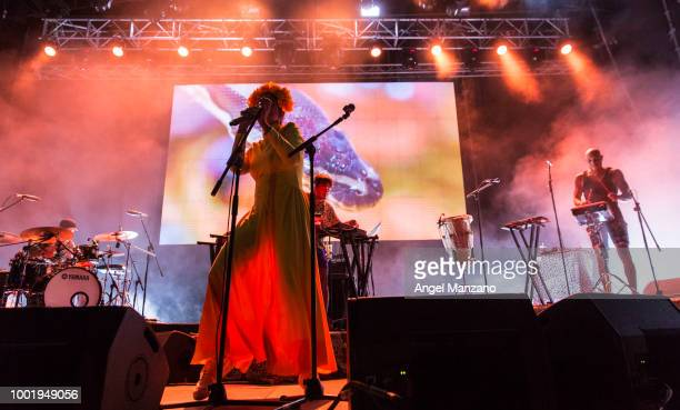 Li Saumet from Bomba Estereo performs in concert at Las Noches del Botanico festival on July 19 2018 in Madrid Spain