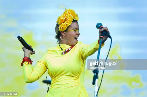 Li Saumet of Bomba Estereo performs at Lollapalooza at Grant Park on August 4 2018 in Chicago Illinois