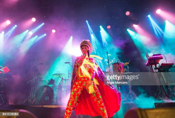 Li Saumet of Bomba Estereo performs at Riviera Club on August 30 2017 in Madrid Spain
