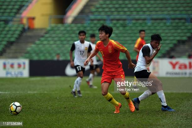 Li Shengyuan of China in action against Laosduring the AFC U23 Championship qualifier between China and Laos at Shah Alam Stadium on March 22 2019 in...