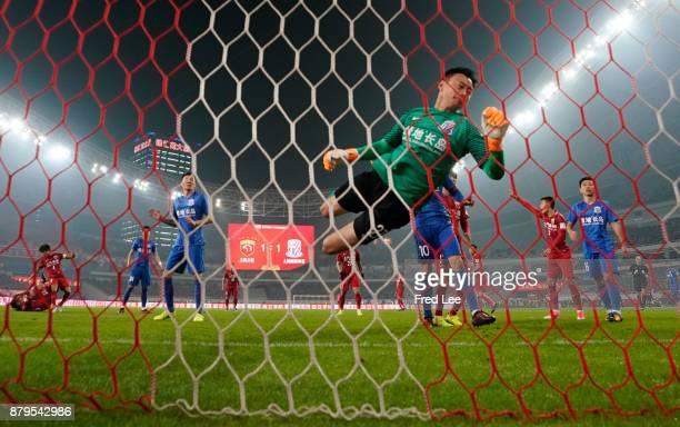 Li Shuai of Shanghai Greenland Shenhua in action during the 2017 CFA Cup Final Round match between Shanghai SIPG and Shanghai Greenland Shenhua at...