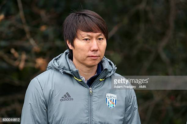 Li Tie former Premier League player with Everton and the current Chinese Assistant Head Coach / Assistant manager during a training session at the...