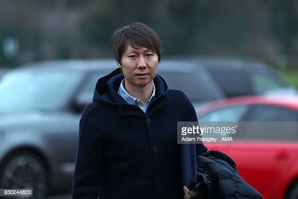 Li Tie former Premier League player with Everton and the current Chinese Assistant Head Coach / Assistant manager arrives for a training session at...