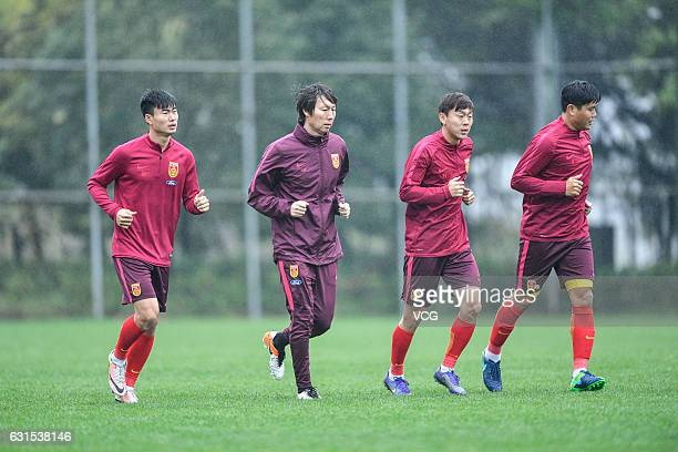 Li Tie of China national football team attends a training session ahead of the third place match of 2017 Gree China Cup International Football...