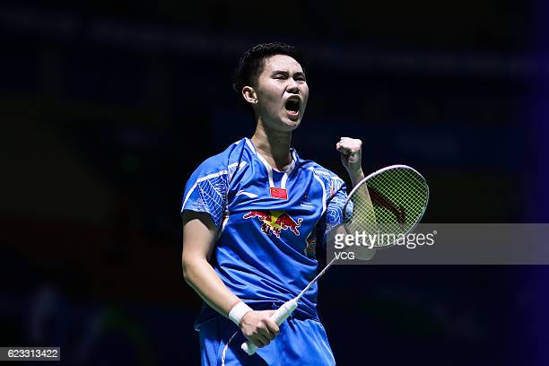 Li Wenmei of China celebrates a point against Hui Xirui of China in the women's singles qualifying round on day one of Thaihot China Open 2016 at...
