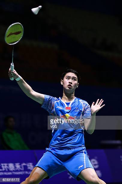 Li Wenmei of China competes against Hui Xirui of China in the women's singles qualifying round on day one of Thaihot China Open 2016 at Fuzhou Strait...