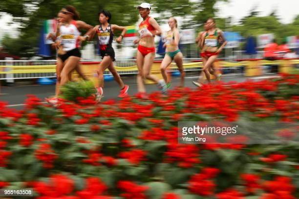 Li Wenxiu of China in action during Women's 10 kilometres Race Walk of IAAF World Race Walking Team Championships Taicang 2018 on May 6 2018 in...