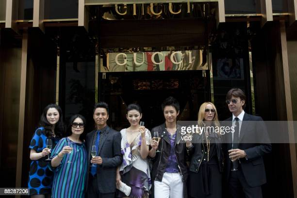 Li Xiaoran Chen Kun Huang Ti Han Geng Gucci Creative Director Frida Giannini attend the opening ceremony of Gucci's Jinying store on June 6 2009 in...