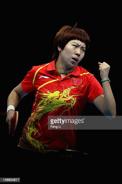 Li Xiaoxia of China celebrates during Women's Team Table Tennis semifinal match against team of Korea on Day 10 of the London 2012 Olympic Games at...