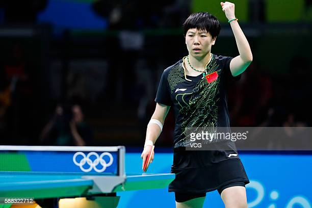 Li Xiaoxia of China competes against Ding Ning of China during the Women's Singles Table Tennis Final at the Riocentro venue on August 10 2016 in Rio...