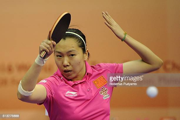 Li Xiaoxia of China competes against Liu Hsing Yin of Taipei during the 2016 World Table Tennis Championship Women's Team Division Round 5 match at...
