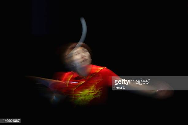 Li Xiaoxia of China competes during Women's Team Table Tennis semifinal match against team of Korea on Day 10 of the London 2012 Olympic Games at...