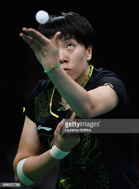 Li Xiaoxia of China in action during the Womens Table Tennis Singles Final match against Ning Ding of China dat Rio Centro on August 10 2016 in Rio...