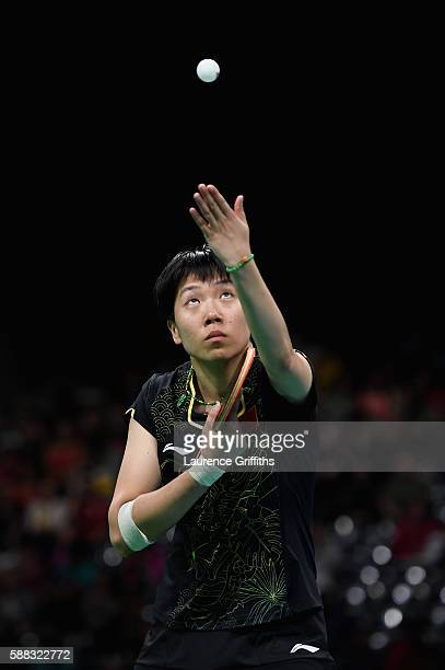 Li Xiaoxia of China in actionduring the Womens Table Tennis Singles Final match against Ning Ding of China dat Rio Centro on August 10 2016 in Rio de...