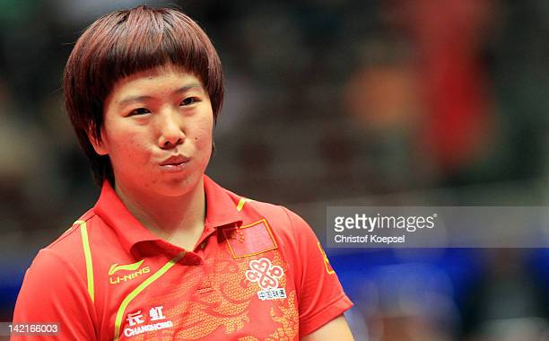 Li Xiaoxia of China looks dejected during her match against Tie Yana of Hongkong during the LIEBHERR table tennis team world cup 2012 championship...