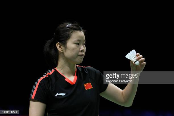 Li Xuerui of China competes against Katia Normand of France during Preliminary Round on day two of the BWF Thomas Uber Cup at Impact Arena on May 21...