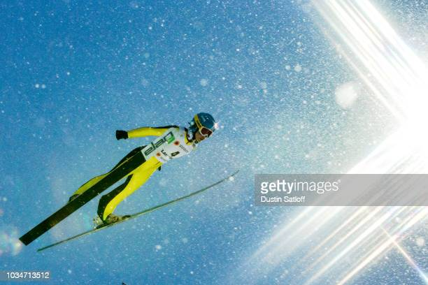 Li Xueyao of China competes in the Women's Ski Jumping HS100 during the FIS Nordic World Ski Championships on February 24 2017 in Lahti Finland