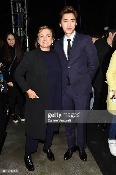 Li Yi Feng and Silvia Venturini Fendi attend the Fendi show as a part of Milan Menswear Fashion Week Fall Winter 2015/2016 on January 19, 2015 in...